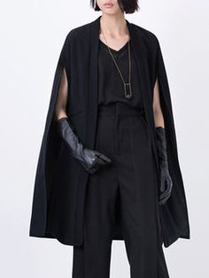 Black Paneled Casual Wool Blend Shift Poncho
