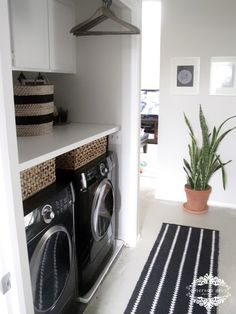 Laundry Room Makeover Ideas | POPSUGAR Home Makeover for next to nothing: -aesthetic overhaul by repainting the walls and cabinets -folding surface from a repurposed old door -bar installed overhead to hang clothes -baskets added for attractive storage.