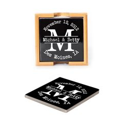 Ceramic Coasters (set of 4) - Typewriter Monogram personalized with names, date and location