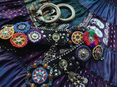 Stunning one-of-a-kind tribal fusion bellydance belt. Gorgeous black Assuit belt decorated with: Turkoman buttons and studs Vintage Kuchi