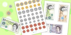 British Money Cut Outs - coins, money, money display, pounds