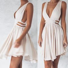 Ivory Chiffon Plunge V Sleeveless Short Ruffled A-Line Dress Featuring Cutout Waist and Plunge V Back Source by heididimarco dresses Hoco Dresses, Pretty Dresses, Homecoming Dresses, Sexy Dresses, Summer Dresses, Formal Dresses, Ruffled Dresses, Bridesmaid Dresses, Chiffon Dresses