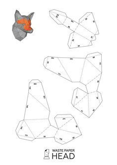 02 papercraft fox head printable digital template - Sculpture - Print the sulpture yourself - Cabeza de papel de Fox-imprimir plantilla por WastePaperHead Origami Paper, Diy Paper, Papier Diy, Fox Head, Paper Mask, Paper Animals, Paper Folding, Origami Folding, Paper Models