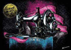 """""""Sew me"""" Affiche originale, créée à partir d'une dessin Noir et Blanc retravaillé sur ordinateur. Entre art illustratif et peinture numérique, cette affiche aux allures de tatouage est disponible en format A3 où sur commande en format: 40*60 cm à 16€ et 80*120 cm à 40 euros."""