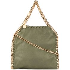 Stella McCartney small Falabella tote (52.235 RUB) ❤ liked on Polyvore featuring bags, handbags, tote bags, green, mini tote bags, leather tote purse, faux leather tote bag, leather handbag tote and faux leather handbags