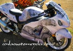 Cenla Custom Cycles - Hayabusa Leopard, custom motorcycle paint, airbrush, fiberglass repair, neon, sport bikes