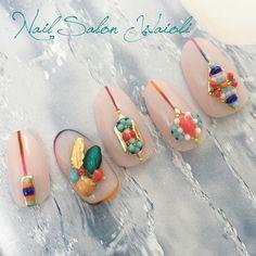 ガラスブリオン フェザー ターコイズ ミサンガ How To Do Nails, My Nails, Korea Nail Art, Japanese Nail Art, Nail Tips, Summer Nails, Nail Designs, Nail Nail, Nailart