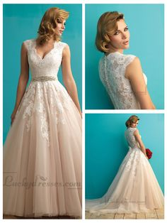 Cap Sleeves Plunging V neckline A-line Lace Wedding Dress
