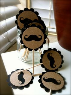 12 Mustache Cupcake Toppers Appetizer by BellasDressUpCloset, $6.00