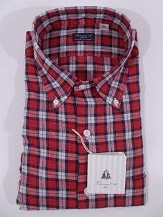 FINAMORE camicia uomo CLASSICA casual sartoriale LINO scozzese P/E tg.XL NWT