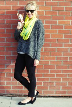 Taylor from SterlingStyle rocking a neon Denj silk circle scarf!  http://www.etsy.com/shop/denj