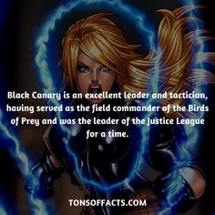 Black Canary is an excellent leader and tactician, having served as the field commander of the Birds of Prey and was the leader of the Justice League for a time. #blackcanary #tvshow #justiceleague #comics #dccomics #interesting #fact #facts #trivia #superheroes #memes #1 #movies #greenarrow