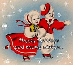 CHRISTMAS Retro Snowman Image,Snowman Cutout, Skating Snowmen, Winter Christmas Image, Wallpaper, Background Papers, Christmas In July,CIJ by FosterChildWhimsy on Etsy