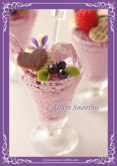 Grape Smoothie, Dollhouse Miniatures, Sweets, Breakfast, Facebook, Food, Morning Coffee, Gummi Candy, Doll House Miniatures