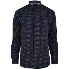 Navy spot print long sleeve shirt 37,00 €