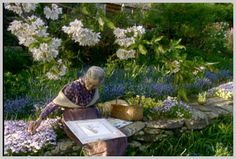 Tasha drawing in the garden.