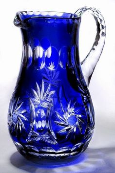 : Beautiful Cobalt Blue Cased Crystal Pitcher Liter - IN STOCK! Cobalt Glass, Cobalt Blue, Blue Vases, Cut Glass, Glass Art, Vase Cristal, Antique Glass, Antique Bottles, Vintage Bottles