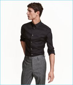 H&M Men's Black Premium Cotton Black Shirt