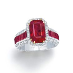 11.18 carat Emerald Cut Burmese Ruby and Diamond Ring