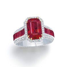 11.18 carat Emerald Cut Burmese Ruby and Diamond Ring