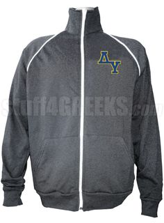 Gray Delta Upsilon track jacket with logo letters on the left breast.