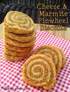 The Baking Explorer: Cheese & Marmite Pinwheel Biscuits: GBBO Week Savoury Biscuits, Savoury Baking, Anzac Biscuits, Savory Snacks, Vegan Snacks, Savoury Recipes, Vegetarian Recipes, Marmite Recipes, Baking Recipes
