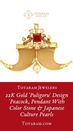 22 Karat Gold 'Puligoru' Design 'Peacock' Pendant with Cz, Color Stone & Japanese Culture Pearls Note : This is not a Real Nail , It is made of Plastic. Pearl Jewelry, Indian Jewelry, Tiger Nails, Gold Pendants, Temple Jewellery, Gold Pearl, Bangles, Bracelets, Lockets
