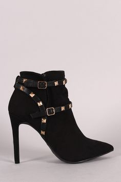 Anne Michelle Studded Strap Pointed Toe Stiletto Booties