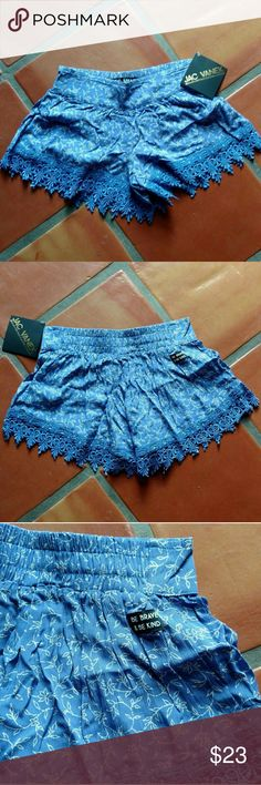 "NWT Jac Vanek High Waisted Shorts Brand new with tags. Super cute just a little too small for me. Elastic waistband. Says ""be brave be kind"" on the back. The blue is darker than the photos depicts. Jac Vanek Shorts"