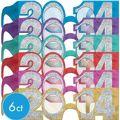 Glitter Colorful 2014 Glasses 6ct