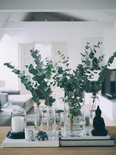 Eukalyptus-Weihnachtstische: 10 Ideen - Clem Around The Corner, Deco Floral, Deco Table, Decoration Table, Vases Decor, Decorating With Glass Vases, Tall Vase Decor, Plant Decor, Floral Arrangements, Table Arrangements