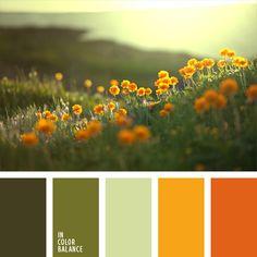amarillo, amarillo y verde, anaranjado, anaranjado y verde, color flor anaranjada, color verde hierba, combinación de tonos verdes, combinaciones de colores, tonos verdes, verde, verde claro, verde pálido.