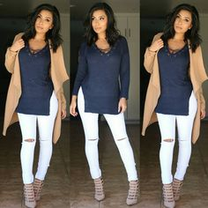 """""""#casualchic Sweater @bossysnob Coat @kj_couture_ use code ✔itsmsmonica✔ to save Jeans (canopy jeans) @fashionnova use code ✔xoitsmonica ✔ for $ off…"""""""