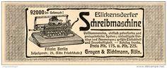 Original-Werbung/Inserat/ Anzeige 1904 - BLICKENSDERFER SCHREIBMASCHINE  ca. 110 X 45 mm