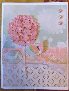 This hydrangea card using the Walk In My Garden Cricut Cartridge is beautiful when paired with pearls and a butterfly. It can be for an occasion.
