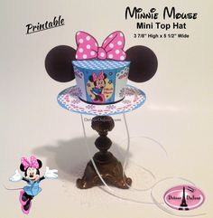 Printable Minnie Mouse Costume Mini Top Hat, Minnie Mouse Ears Minnie Ears, Halloween Costume, Minnie Mouse, Birthday Party Hat by DetourDuJour on Etsy