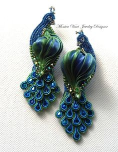 Monica Vinci peacock earrings with soutache and shibori. Stunning!  Not the foggiest idea how they're made, but they are gorgeous.: