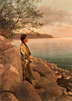 Handpainted Print Of A Young Woman By The River. Early 1900s. Photo By Roland W. Reed