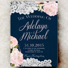 Navy blue blush pink Wedding Invitation - Country Wedding Invitation, printable wedding invitation, winter wedding invitation by RavishingInvitations on Etsy https://www.etsy.com/listing/247757073/navy-blue-blush-pink-wedding-invitation