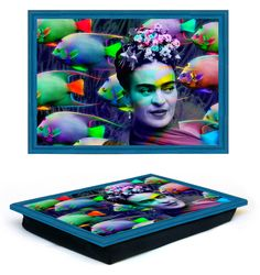 Frida Kahlo Table tray on a bed breakfast with laptop, laptop tray, iPad table by giftsforloved on Etsy