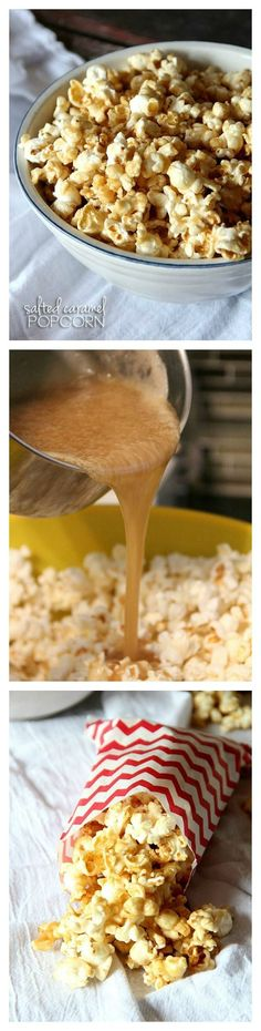 the only caramel popcorn recipe you'll ever need!the only caramel popcorn recipe you'll ever need! Yummy Snacks, Delicious Desserts, Snack Recipes, Dessert Recipes, Cooking Recipes, Yummy Food, Salted Caramel Popcorn, Caramel Corn, Carmel Popcorn