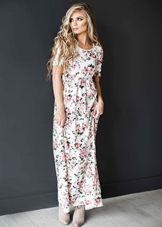 floral dress, blonde, jessakae, easter dress, spring dress, midi dress, fashion, style, hair, maxi dress