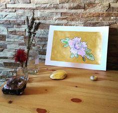 #art #etsyshop #etsy #goldleafimitation #goldleaf #illustration #gold #artofgold #metallicleaf #flower #watercolor #originalart #peony