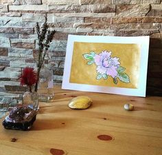 #art #etsyshop #etsy #goldleafimitation #goldleaf #illustration #gold #artofgold #metallicleaf #flower #watercolor #originalart #peony