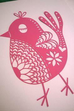 """Digital file template to cut your own """"Posh Bird"""" papercut. PERSONAL USE"""