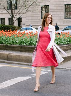 Sydne Style - Hot Pink Maggy London Dress with Bebe Lace Trench Coat Dress Lace, Pink Dress, Summer Work Dresses, Maggy London Dresses, Mothers Day Brunch, Blazer, Mantel, Trench, Tulips
