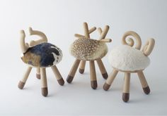#Bambi, #sheep and #cow #chairs, designed by Kamina & C (Tokyo) #cerforet