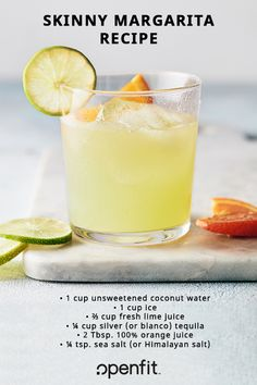 This skinny margarita recipe is a great healthier version of the classic margarita. just in time for summer! This skinny margarita recipe is a great healthier version of the classic margarita. just in time for summer! Summer Drinks, Cocktail Drinks, Fun Drinks, Cocktail Recipes, Healthy Cocktails, Recipes Dinner, Breakfast Recipes, Beverages, Dessert Recipes