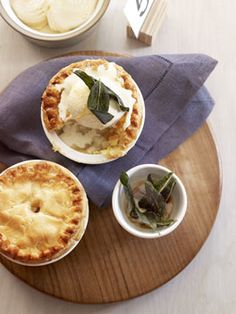 Deep-dish apple, pear and vanilla pies with crisp sage, and brown butter ice-cream