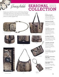 Grace Adele -- Seasonal Collection. Python now available in styles shown above, throughout this catalog season but only while supplies last. (316) 640-0412 to place your order!